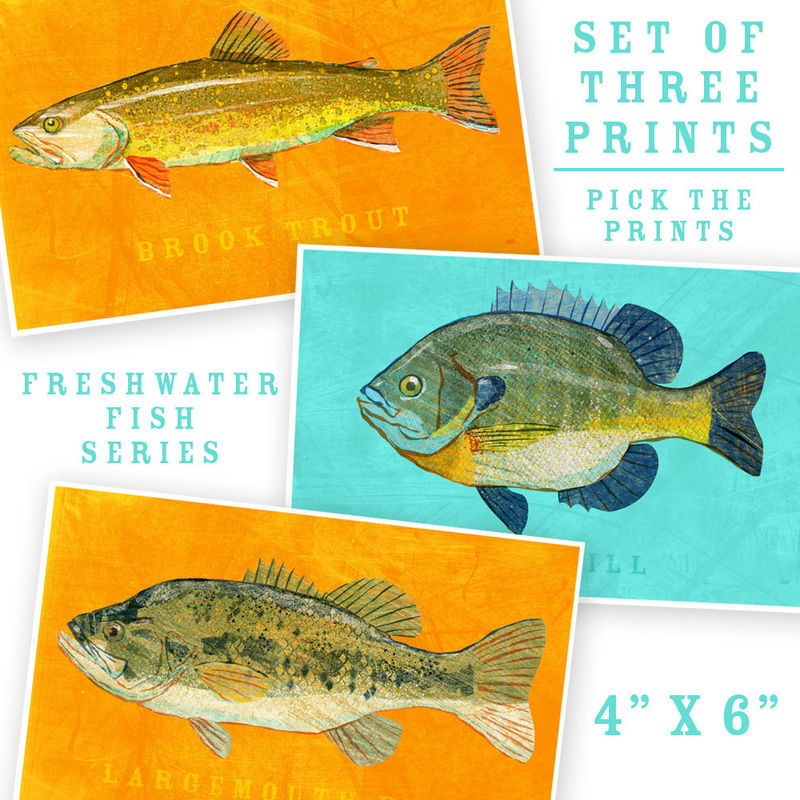 Fish artwork 3 little fishies set of 3 prints 4 x 6 for Fishing decor for man cave