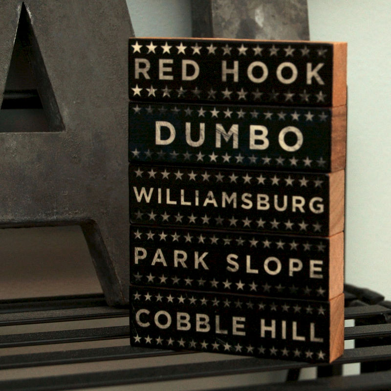 Brooklyn Art-  Hoods on Wood Neutral Version Five Art Block Set- Pick the Hoods- City Art- City Word Art- City Blocks- Going Away Gifts - product images  of