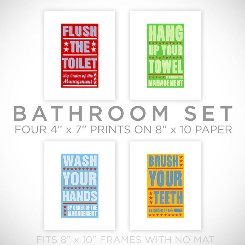 Kids Room Art  Bathroom Decor Set Of 4 Prints  By Order Of The Management  ...