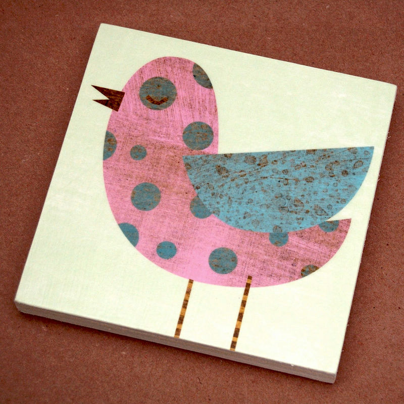 "Collage Bird Art Blocks- Set of Four- 6"" x 6""- Ready to Hang Girls Nursery Art- Whimsical Bird Artwork- Cute Bird Art for Girls Room - product images  of"