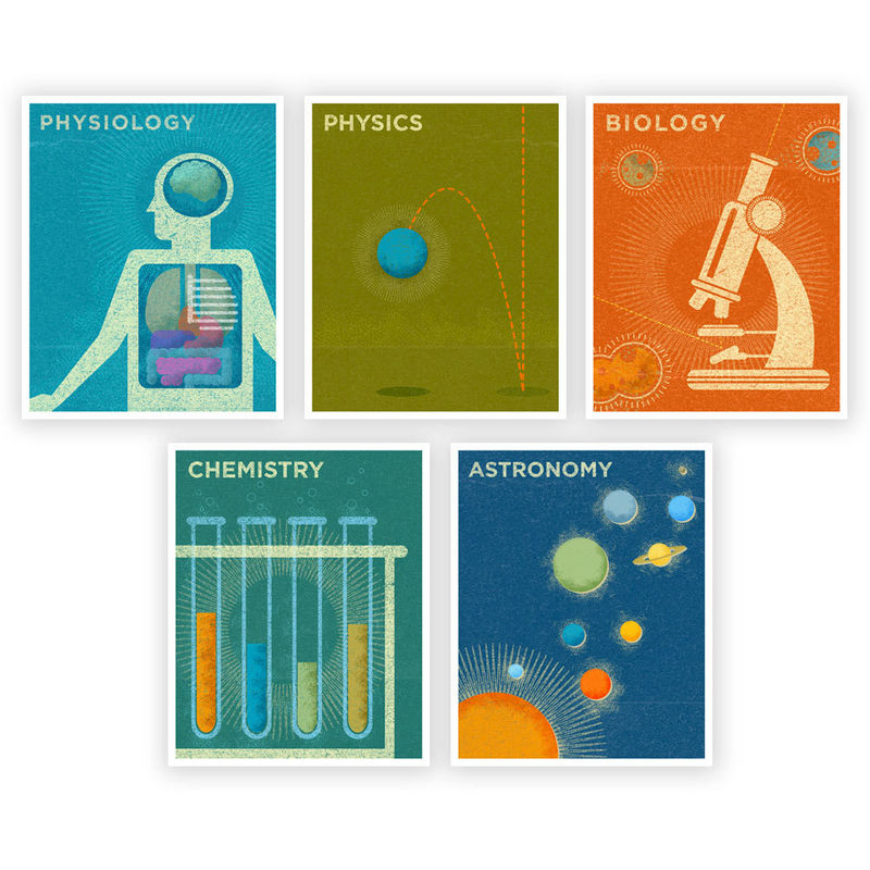 Art for Girls Room Art for Boys Room - Science Series Art Prints Set of 5 -  8 in x 10 in Retro Science Art Prints - Prints for Boys Room - product images