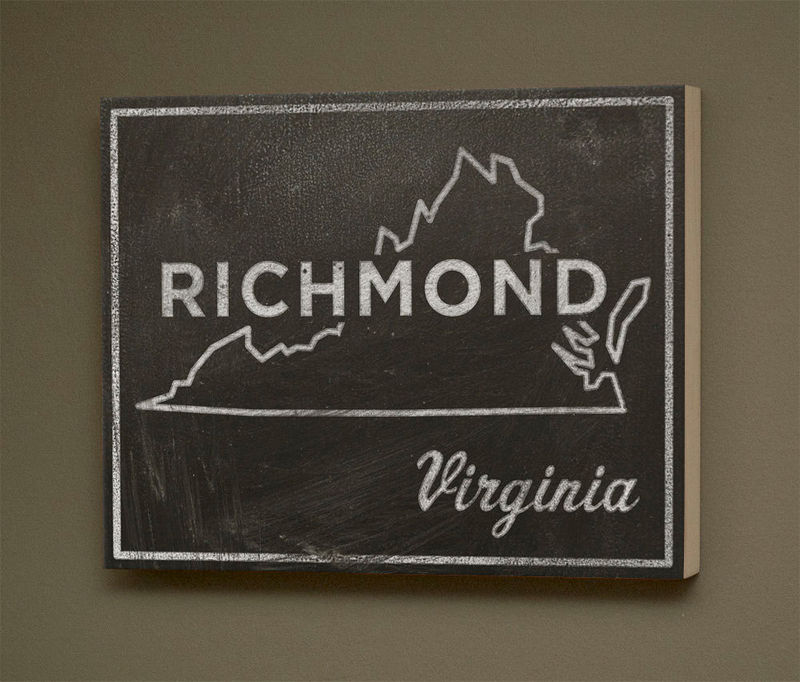"Richmond Art City State Art Box- 11"" x 14"" Richmond Mounted Print- Chalkboard Art-  Virginia State Print- State Art Print- Going Away Gifts - product images  of"
