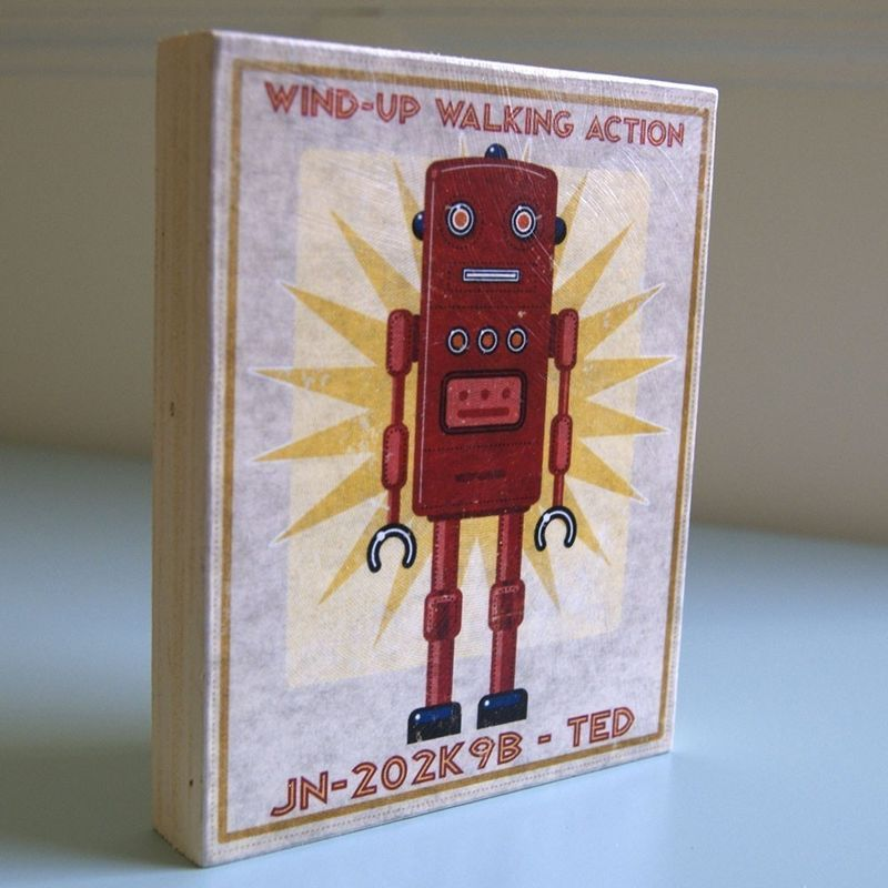 "Retro Robot Art Blocks- Set of 3- 8"" x 10""- Boy Nursery Art- Boys Wall Art- Boys Room Art- Gift For Dad - product images  of"