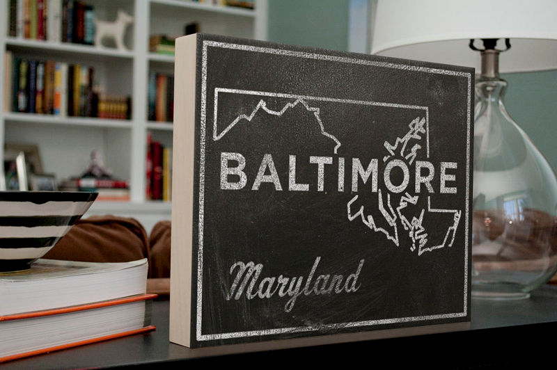 "Baltimore Art- City State Map Art Box- 11"" x 14"" Baltimore Print- Chalkboard Art- Maryland Art Print State Print- Going Away Gifts - product images  of"
