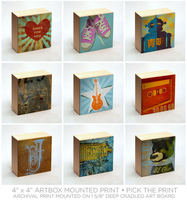 Art on Wood Art Box Wall Decor- Pick the Art Print- 4\