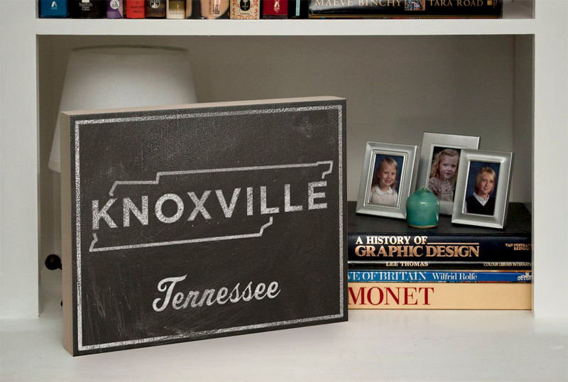 "Knoxville Art- City State Art Box- College Town Print- 11"" x 14"" Ready to Hang Custom State Print- University of Tennessee Graduation Gift - product images  of"