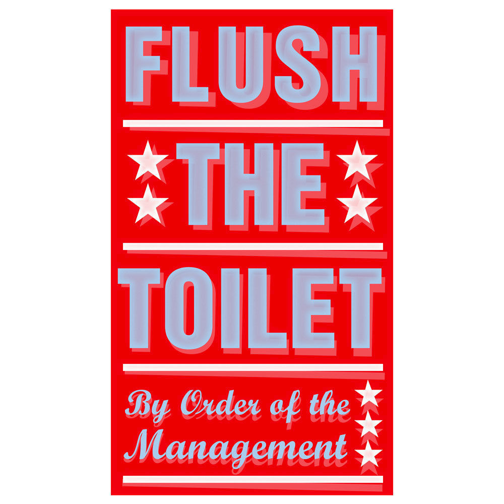 "Bathroom Sign Art bathroom art for kids- flush the toilet print 6"" x 10"" wall art"