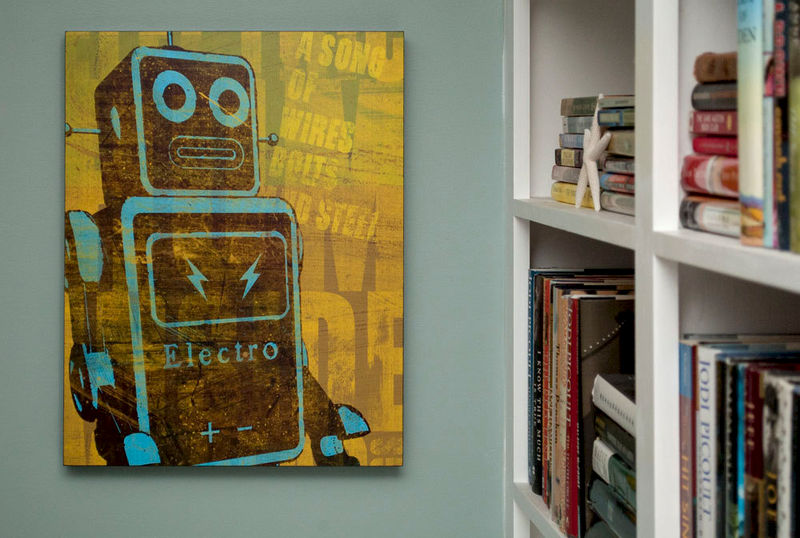 "Retro Wall Art retro robot art print box- song of wires sci fi wall art- 16"" x 20"