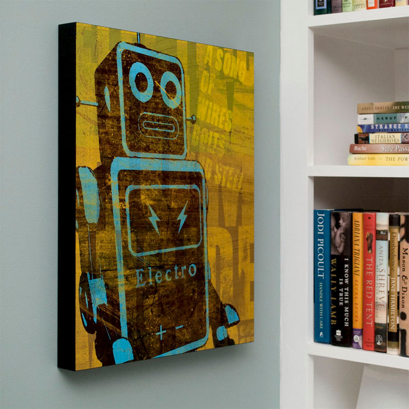 Retro robot art print box song of wires sci fi wall art for Sci fi home decor
