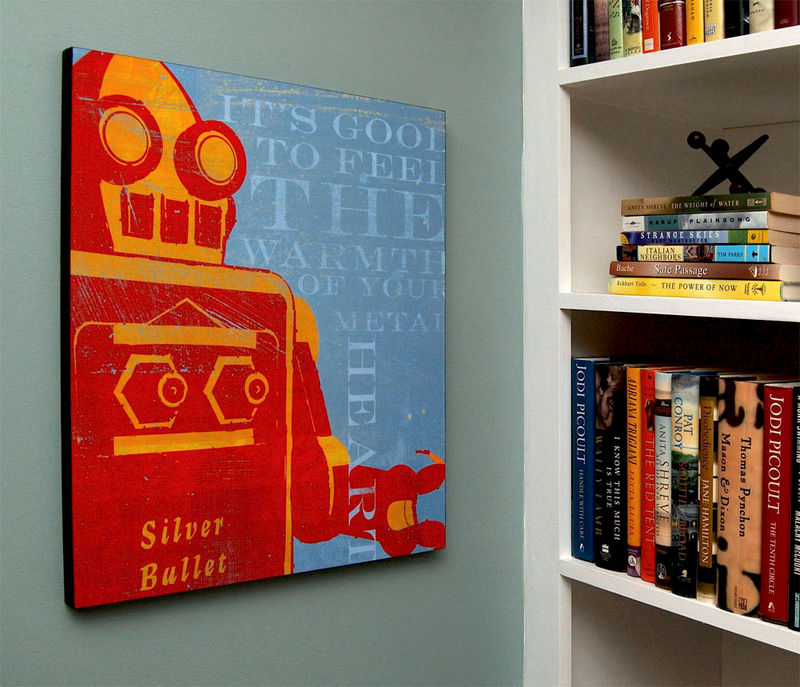 "Retro Robot Art Print Box- Song of Wires Sci Fi Wall Art- 16"" x 20"" Robot Wall Decor for Dad- Ready to Hang Gift for Husband - product images  of"