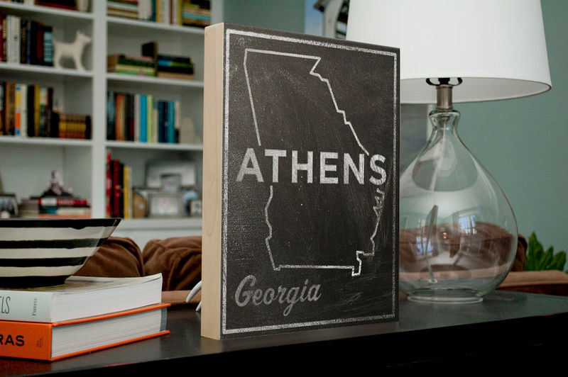 "Athens Art- City State Art Box- College Town Print- 11"" x 14""- Map of Georgia State Map Art- Graduation Gift - product images  of"