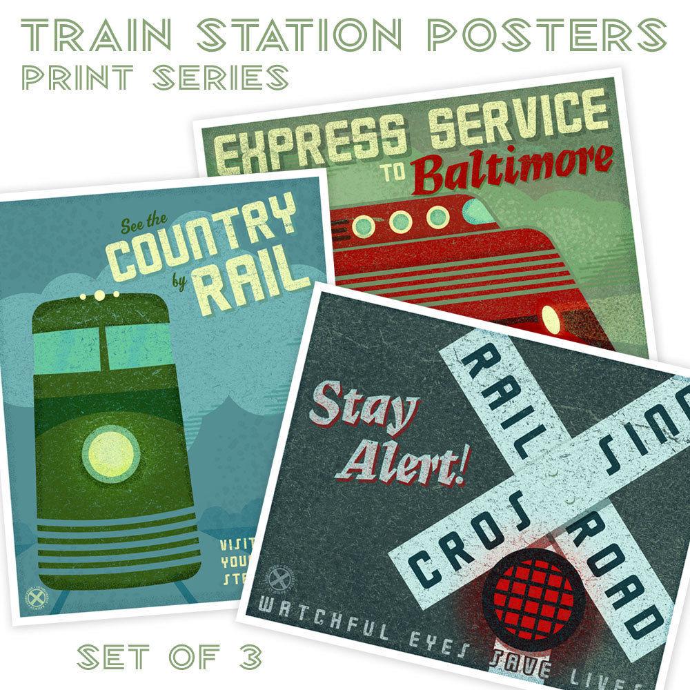 kids train art for kids room train station posters set of 3