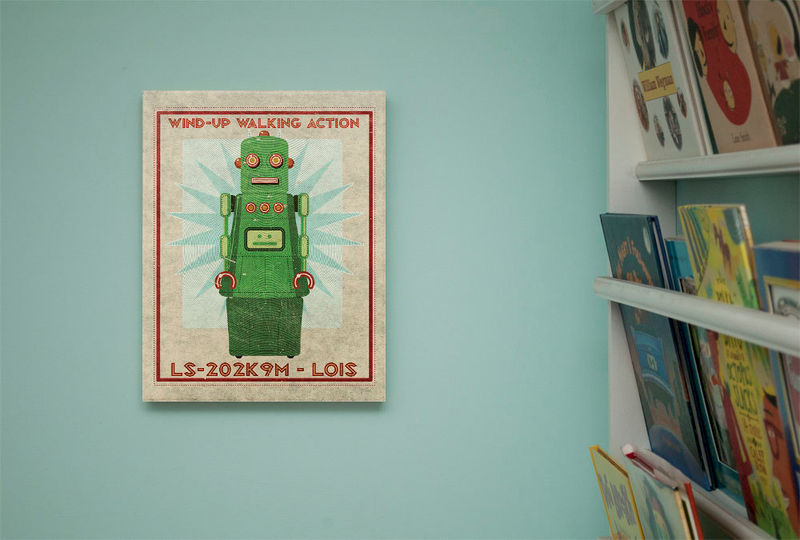 "Retro Robot Art Print Box- Lois Robot Series Sci Fi Wall Art- 11"" x 14"" Ready to Hang Robot Wall Decor- Retrobot Series as seen"" Land of Nod - product images  of"