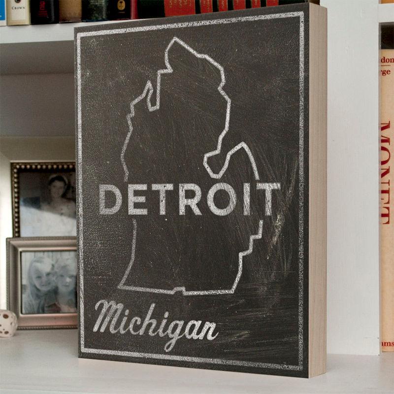 Black and white art detroit city state box 11 x 14 michigan state
