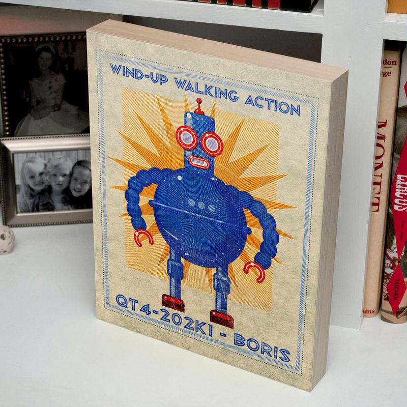 Retro Robot Art Print Box- Boris Robot Sci Fi Wall Art- 11\