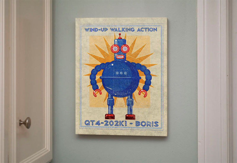 "Retro Robot Art Print Box- Boris Robot Sci Fi Wall Art- 11"" x 14"" Modern Nursery Art- Robot Wall Decor- Retrobot Series Land of Nod - product images  of"