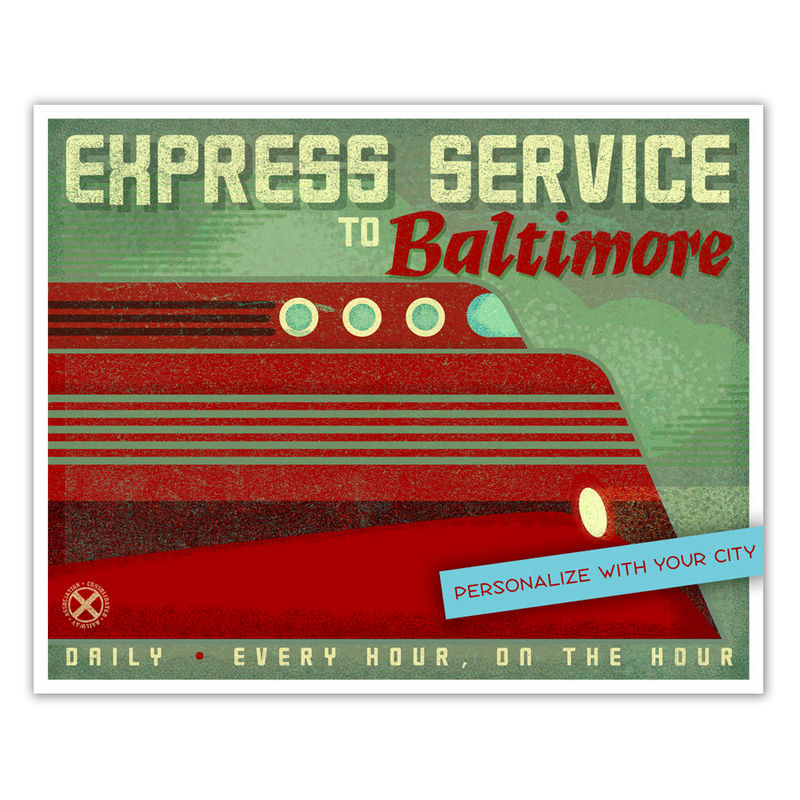 Train Nursery Decor - Kids Train Art - For Boys Room - Art Train Station Poster - Express Service - Kids Train Decor - Art for Boys Room - product images  of