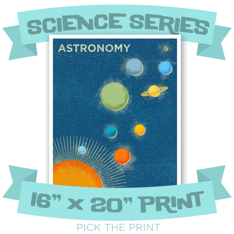 Girls Science Art - Art for Boys Room - 16 in x 20 in Retro Science Art Print - Pick the Print - Science Print for Boys Room - Kids Wall Art - product images  of