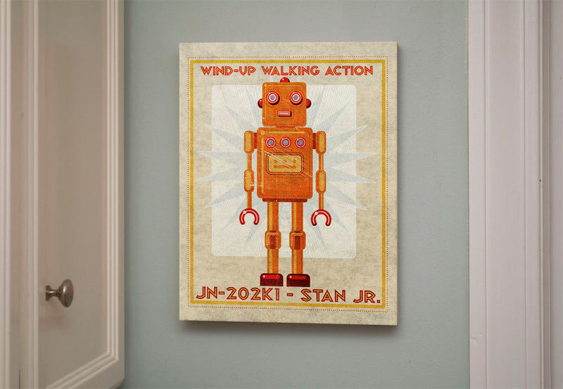 Retro robot art print box stan jr robot sci fi wall art for Sci fi home decor