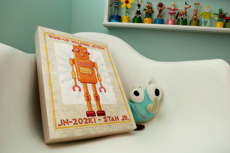 "Retro Robot Art Print Box- Stan Jr Robot Sci Fi Wall Art for Children- 11"" x 14"" Ready to Hang Robot Wall Decor- Retrobot Series Land of Nod - product images  of"