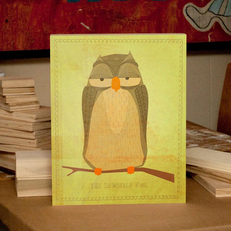 Woodland Nursery Wall Decor- Owl Decor Nursery Art- Sensible Owl Art ...