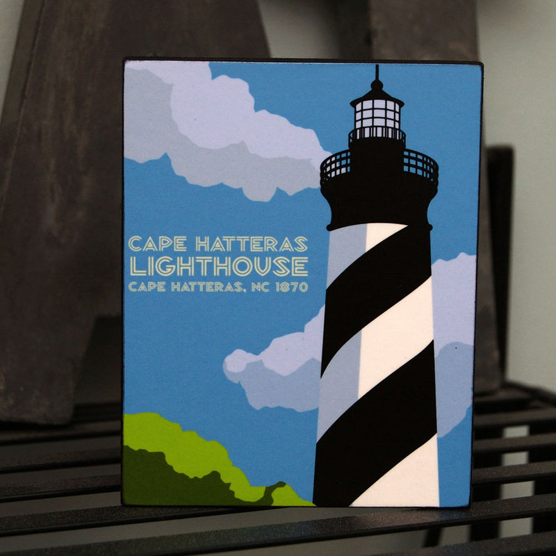 North Carolina Lighthouses Art Blocks - Set of 7 - 4 in x 5 in - product images  of