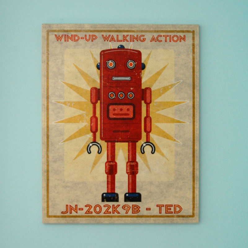 Retro Robot Tin Toy Art Box 16 in x 20 in - product images  of