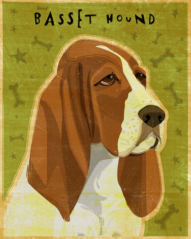 Basset,Hound,Print,-,Various,Colors,Art,Illustration,digital,whimsical,cute,dog,animal,basset hound,black,red and white,lemon and white,paper,ink