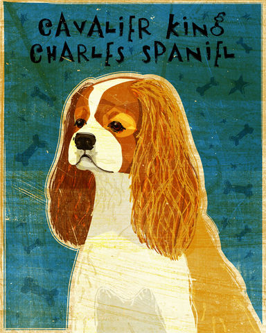 Cavalier,King,Charles,Spaniel,Print,-,Various,Colors,Art,Illustration,digital,whimsical,cute,dog,animal,cavalier,king,charles,paper,ink
