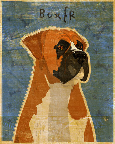 Boxer,Print,-,Various,Colors,Art,Illustration,digital,whimsical,cute,dog,animal,boxer,brindle,fawn,paper,ink