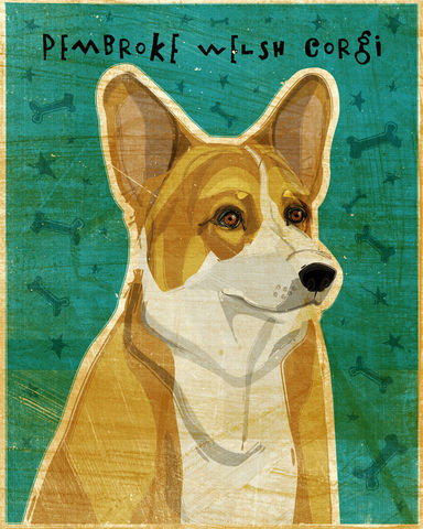 Corgi,Print,-,Various,Colors,Art,Illustration,digital,whimsical,cute,dog,animal,corgi,paper,ink
