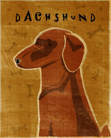 Dachshund,Print,-,Various,Colors,Art,Illustration,digital,whimsical,cute,dog,animal,dachshund,red,black and tan,paper,ink