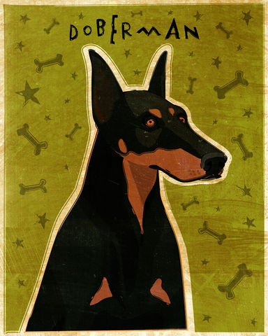 Doberman,Print,-,Various,Colors,Art,Illustration,digital,whimsical,cute,dog,animal,doberman,black_and_tan,red,paper,ink