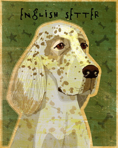 English,Setter,Print,-,Various,Colors,Art,Illustration,digital,whimsical,cute,dog,animal,english_setter,paper,ink
