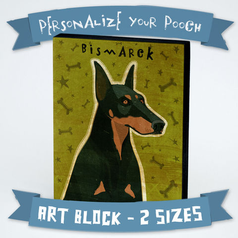 Personalized,Dog,Series,Art,Block,-,Doberman,with,Your,Dog's,Name,Various,Sizes,Illustration,Digital,wood,block,dog,breed,animal,weimaraner,glue,paper,ink,sealer