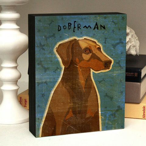 Dog,Art,Box,-,Doberman,with,Breed,Name,Mounted,Print,Various,Sizes,Illustration,Digital,wood,reproduction,print,mounted,dog_art,art_box,dog_art_box,paper,ink,glue,sealer,doberman