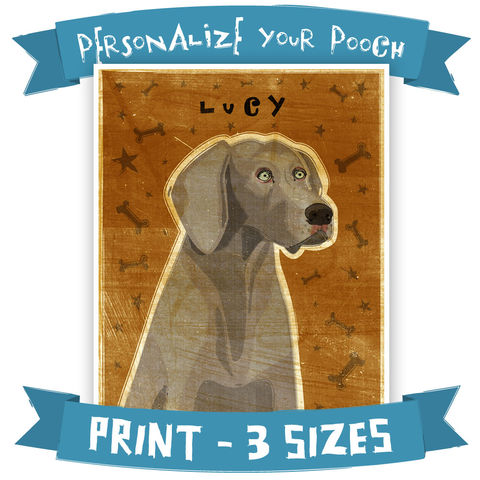 Personalized,Weimaraner,Print,With,Your,Dog's,Name,-,Various,Colors,and,Sizes,Art,Illustration,digital,whimsical,cute,dog,animals,animal,weimaraner,paper,ink