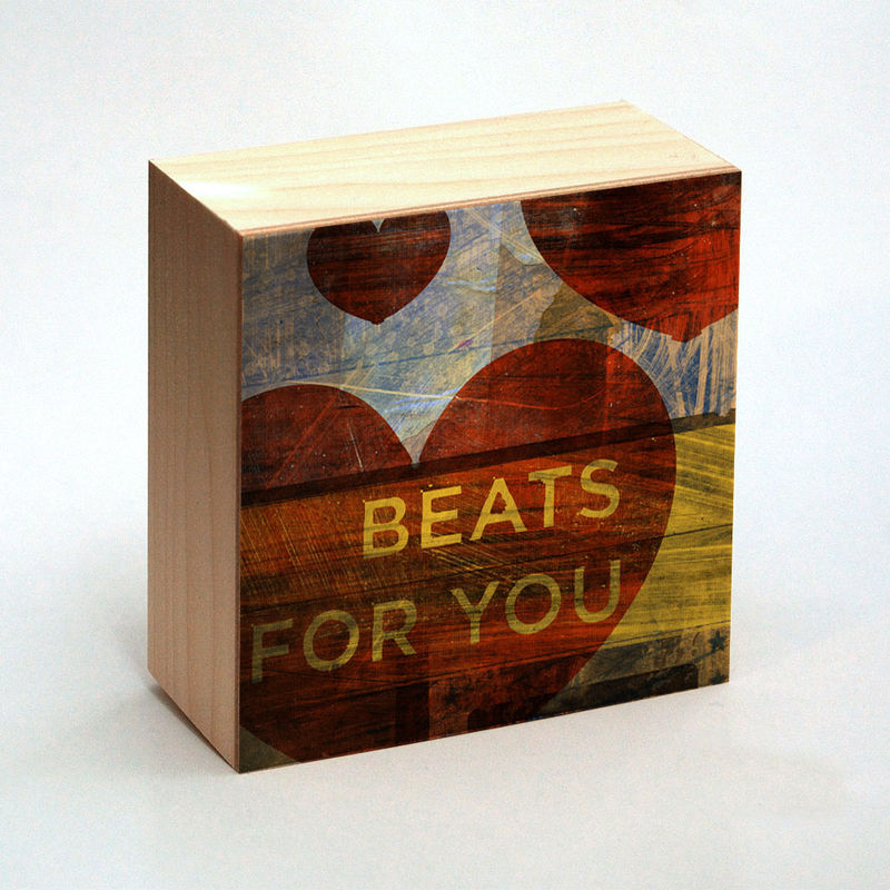 Valentine Heart Art - Beats for You Art Box - 4 in x 4 in - product images  of