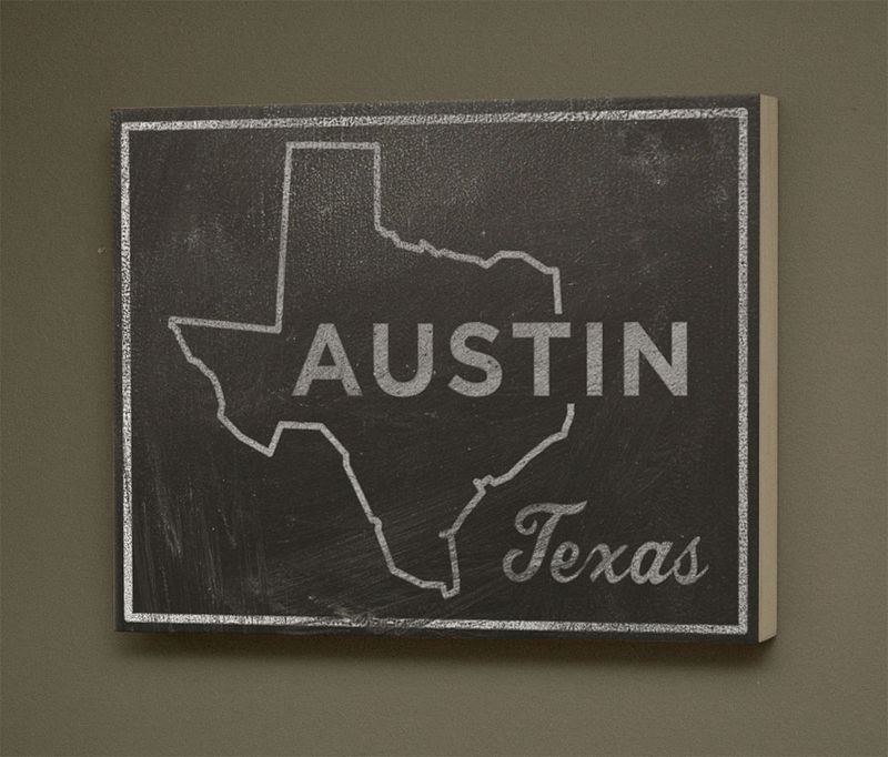 Austin City State Art Box - 11 in x 14 in Austin Print - Chalkboard Art - Custom State Print, Texas State Art - product images  of