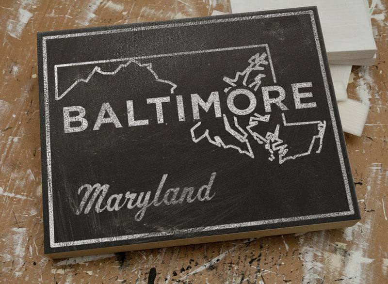 Baltimore City State Art Box - 11 in x 14 in Baltimore Print - Chalkboard Art - Custom State Print, Maryland State Art - product images  of