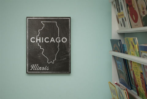 Chicago,City,State,Art,Box,-,11,in,x,14,Print,Chalkboard,Custom,Print,,Illinois,Chalkboard Art, Chicago Art, City Print, Vintage Look Art, Minimalist Art, Typography Art, Honeymoon Gift, United States Cities, Dorm Room Art, Living Room Office, Wedding Gift, Custom State Print, Illinois State Art