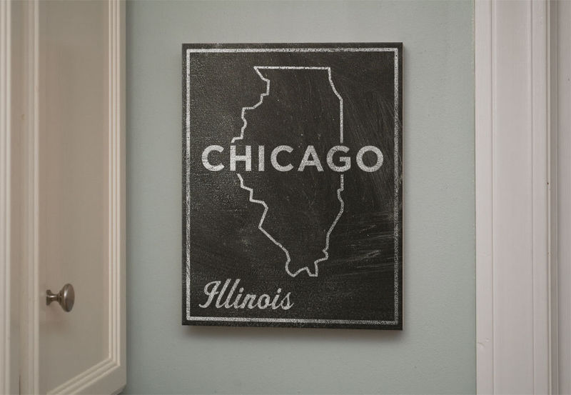 Chicago City State Art Box - 11 in x 14 in Chicago Print - Chalkboard Art - Custom State Print, Illinois State Art - product images  of