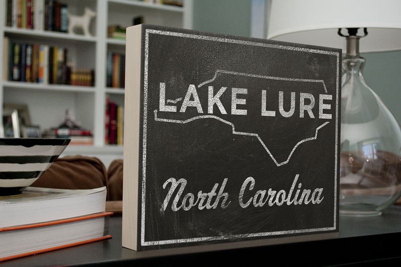 Lake Lure City State Art Box - 11 in x 14 in Lake Lure Print - Chalkboard Art - Custom State Print, North Carolina State Art - product images  of