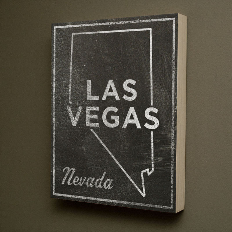 Las Vegas City State Art Box - 11 in x 14 in Las Vegas Print - Chalkboard Art - Custom State Print, Nevada State Art - product images  of