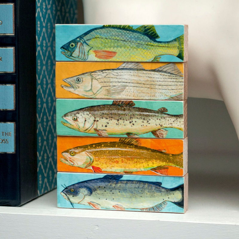 Fish Sticks - Freshwater Fish Art Block Set of 5 Fisherman Gift - Fishing Decor Art - Fathers Day Gifts - Gift for Dad - Dad Gift - product images  of