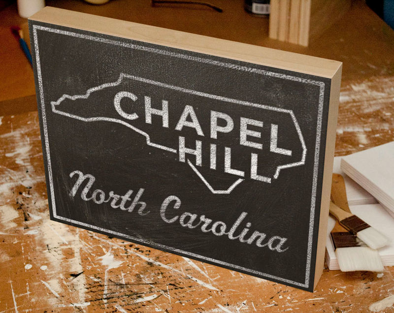College Town Print - Chapel Hill, North Carolina City State Art Box - 11 in x 14 in Custom State Print - State Map Art - Graduation Gift - product images  of