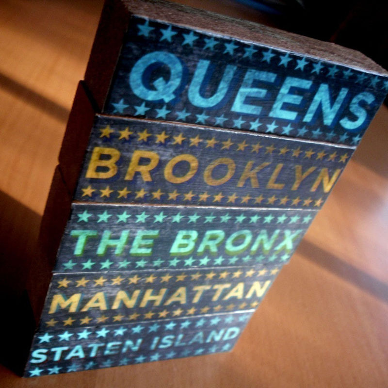 New York City Art - City Blocks - Five Boroughs Art Block Set - City Art - City Word Art - City Blocks - Mothers Day Gift - Fathers Day Gift - product images  of
