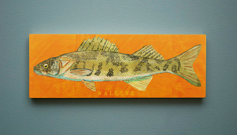 Freshwater Fish Art Series Large Art Block - Pick the Print - 4 in x 11 in Fish Wall Decor Fisherman Gift - Fathers Day Gift for Dad - product images  of