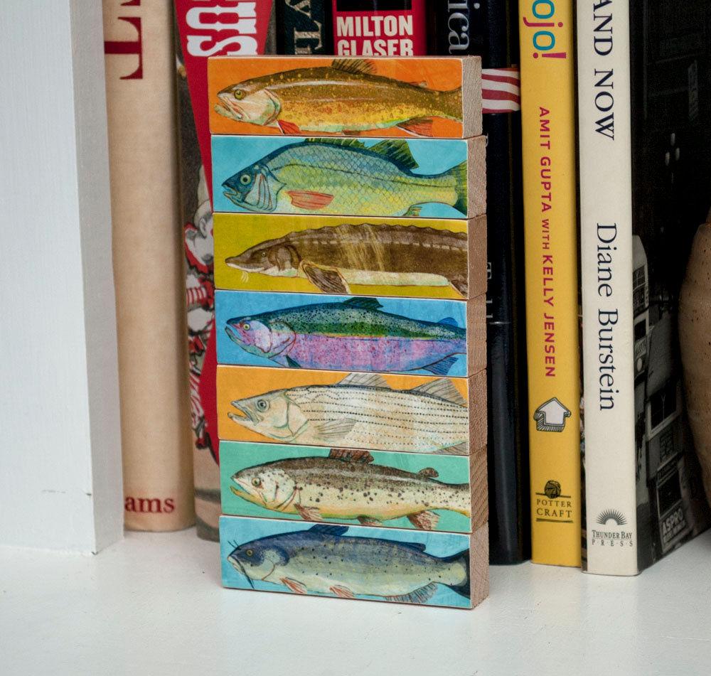 Freshwater fish art - Fish Art Fish Sticks Freshwater Fish Art Block Set Of 7 Coastal Beach Decor Beach House Art Fathers Day Gift For Dad Gift
