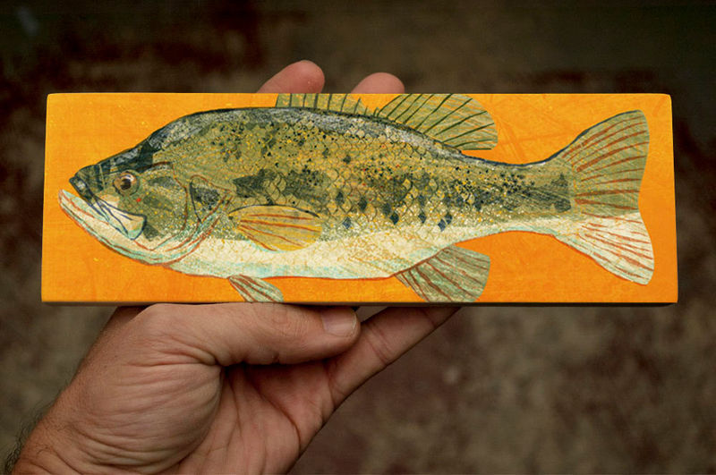 Freshwater Fish Art Medium Art Block - Largemouth Bass Art Print - 9 in x 3 in Fish Wall Decor Fisherman Gift - Fathers Day Gift for Dad - product images  of